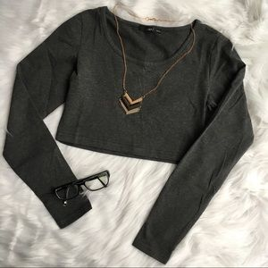 Grey Long Sleeve Crop Top - NWOT